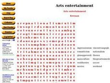 Arts Entertainment Worksheet