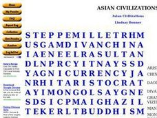 Asian Civilizations Word Search Worksheet
