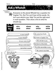 Ask a Whatzit Worksheet