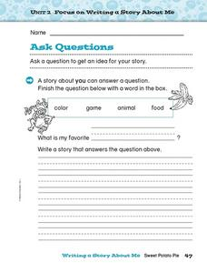 Ask Questions: A Story About You Worksheet
