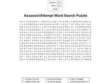 Assassin/Attempt Word Search Puzzle Worksheet