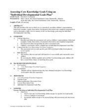 Assessing Core Knowledge Goals Using an Individual Developmental Goals Plan Lesson Plan