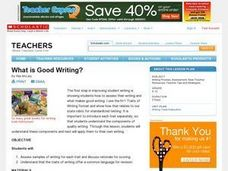 Assessing the Traits: What is Good Writing? Lesson Plan