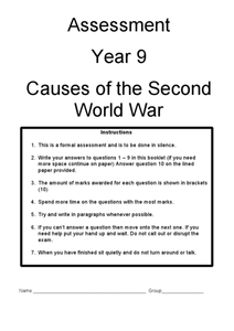 Assessment: Causes of the Second World War Worksheet