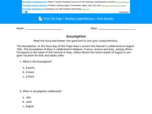 Assumption Reading Comprehension Activity Worksheet