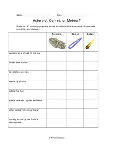 asteroid comet or meteor 6th 8th grade worksheet lesson planet. Black Bedroom Furniture Sets. Home Design Ideas