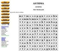 Asthma Word Search Worksheet