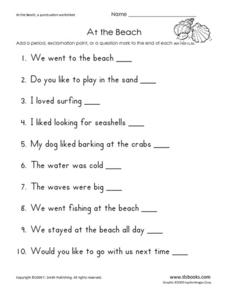 At the Beach! Worksheet