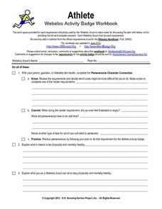 Athlete Webelos Activity Worksheet