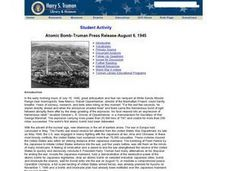 Atomic Bomb-Truman Press Release-August 6, 1945 Lesson Plan