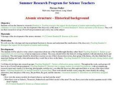 Atomic structure - Historical background Lesson Plan