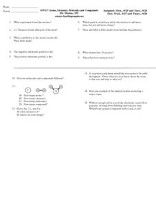 Atoms, Elements, Molecules, and Compounds Worksheet