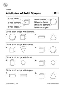 Attributes of Solid Shapes- First Grade Reteaching Worksheet Worksheet