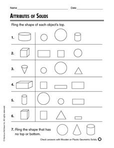 Attributes of Solids Worksheet
