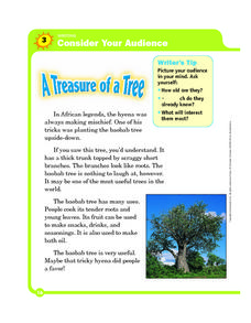 Audience: A Treasure of a Tree Worksheet