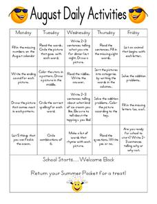 August Daily Activities Worksheet