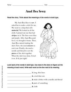Aunt Bea Sews Worksheet