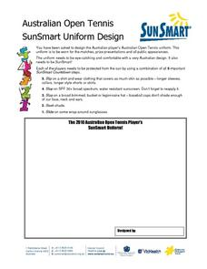 Australian Open Tennis Player's SunSmart Uniform Worksheet