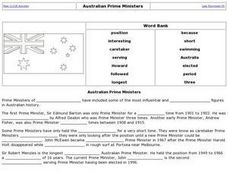 Australian Prime Ministers Activity Worksheet