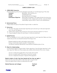 Author's Logical Order  Lesson Plan