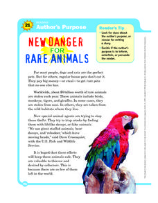 Author's Purpose: New Danger for Rare Animals Worksheet