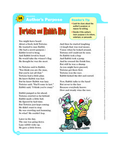 Author's Purpose: Tortoise and Rabbit Rap Worksheet