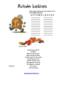 Autumn Leaves Word Challenge Worksheet