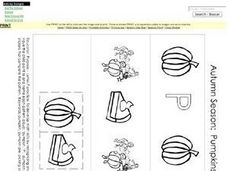 Autumn Season: Pumpkins Pattern (Black and White Copy) Worksheet