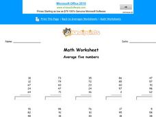 Average 5 Numbers Worksheet