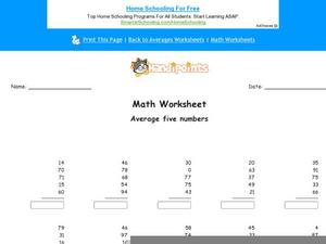 Average Five Numbers: Part 7 Worksheet