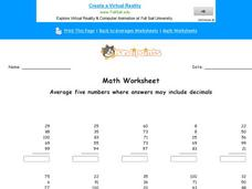 Average Five Numbers Where Answers May Include Decimals: Part 4 Worksheet