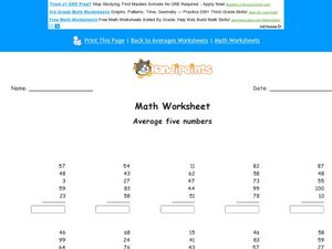 Average Five Numbers Worksheet
