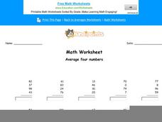 Average Four Numbers Worksheet