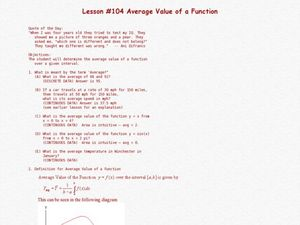 Average Value Of A Function Lesson Plan