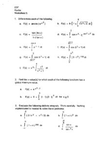 Average Value of Functions Worksheet