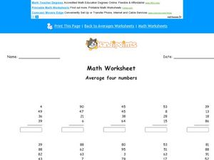 Averaging Four Numbers Average Four Numbers Worksheet