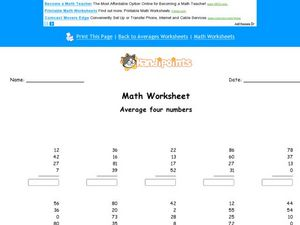 Averaging Four Numbers Worksheet