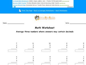 Averaging Thee Numbers Where the Answers May Contain Decimals Worksheet