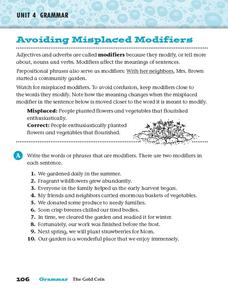 Avoiding Misplaced Modifiers Worksheet