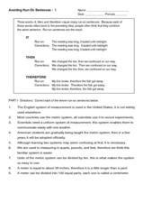 Avoiding Run-On Sentences Worksheet