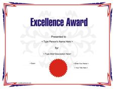 Award certificate template for excellence pre k 12th for Pre k award certificate templates