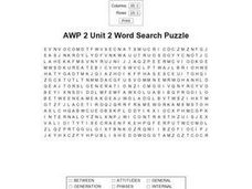 AWP 2 Unit 2 Word Search Puzzle Worksheet