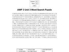AWP 3 Unit 3 Word Search Worksheet
