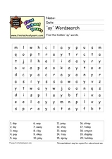'Ay' Word Search Worksheet