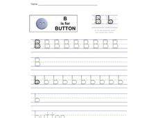 B is for Button: Letter Bb Worksheet