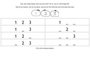 Baa, Baa Black Sheep Number Recognition Worksheet