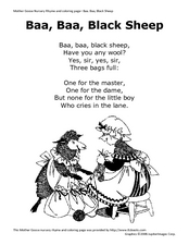 Baa, Baa, Black Sheep Nursery Rhyme and Coloring Page Worksheet