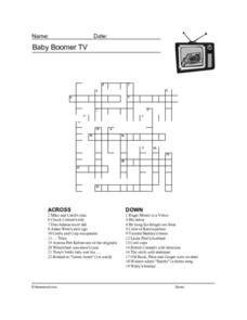 Baby Boomer TV Worksheets Worksheet