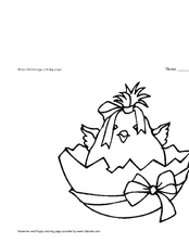 Baby Chick Coloring Page Worksheet