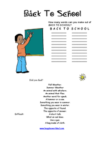 Back-to-School Word Challenge Worksheet